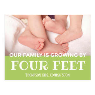 Green Growing by 4 Feet Modern Adoption New Baby Postcard
