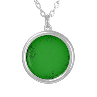Green Grunge Background Silver Plated Necklace