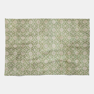 Green Grunge Flower Pattern Kitchen Towel