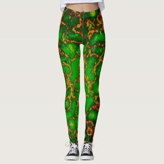 Green Grunge Fractal Leggings