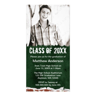 Green Grunge Graduation Announcement Photo Greeting Card