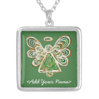 Green Guardian Angel Series Sterling Necklace