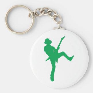 Green Guitar Player Silhouette Basic Round Button Keychain
