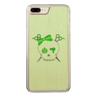 Green Hair Accessory Skull -Scissor Crossbones #2 Carved iPhone 7 Plus Case