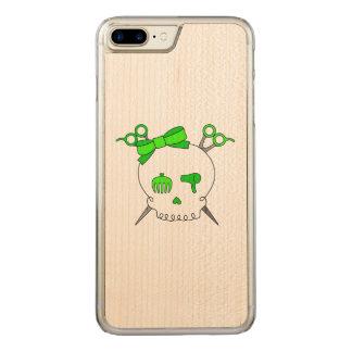 Green Hair Accessory Skull -Scissor Crossbones Carved iPhone 7 Plus Case