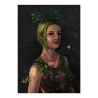 Green Haired Elf Woman in Forest Illustration Poster
