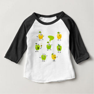 Green hand-drawn illustrated Apples Baby T-Shirt