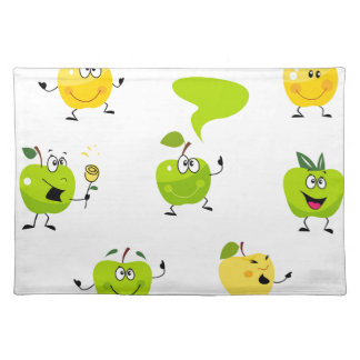 Green hand-drawn illustrated Apples Placemat