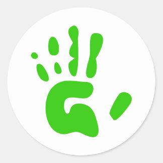 Green Hand Print Round Sticker