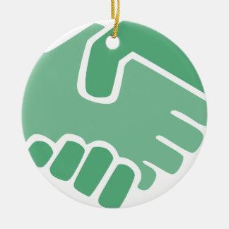 Green Handshake Ceramic Ornament