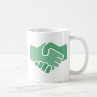 Green Handshake Coffee Mug