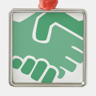 Green Handshake Metal Ornament