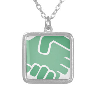 Green Handshake Silver Plated Necklace