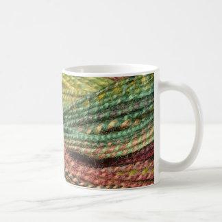 green handspun yarn coffee mug