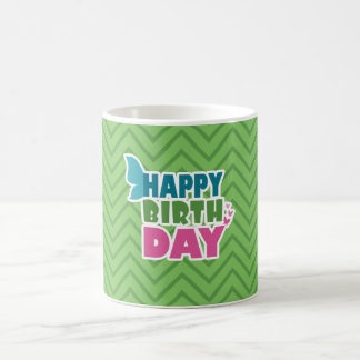 Green happy birthday butterfly wings mug