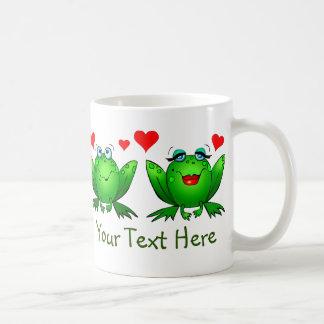 Green Happy Cartoon Frogs Save the Swamp Coffee Mug