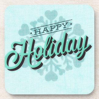 Green Happy Holiday Snowflake Beverage Coaster