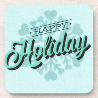 Green Happy Holiday Snowflake Coaster
