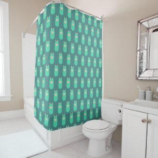 Green Happy Llama Emoji Shower Curtain