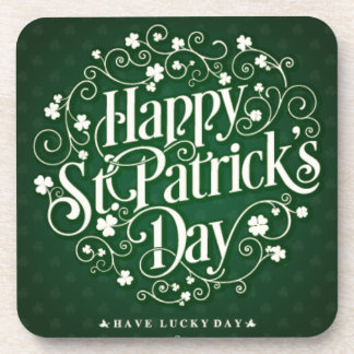 Green Happy Saint Patrick day ornament typography Drink Coasters