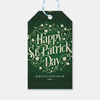 Green Happy Saint Patrick day ornament typography Gift Tags
