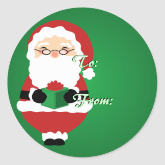 Green Happy Santa Christmas Tags
