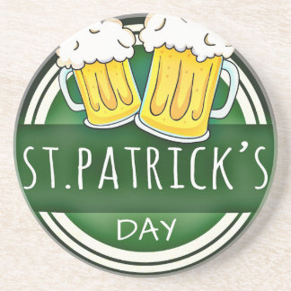 Green Happy St Patricks Day Shield With Two Beers Coaster