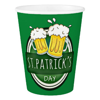 Green Happy St Patricks Day Shield With Two Beers Paper Cup