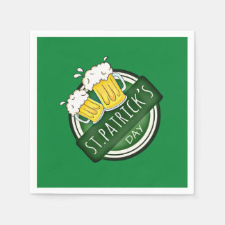 Green Happy St Patricks Day Shield With Two Beers Paper Napkin