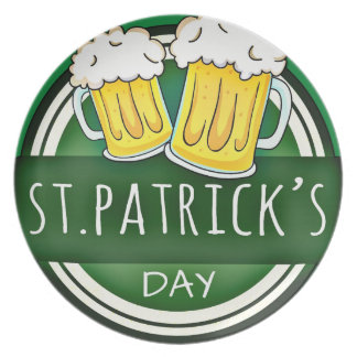 Green Happy St Patricks Day Shield With Two Beers Plates