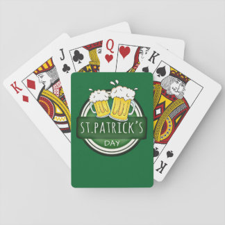 Green Happy St Patricks Day Shield With Two Beers Poker Deck