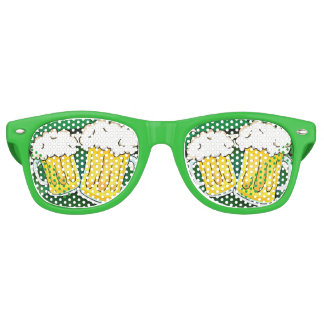 Green Happy St Patricks Day Shield With Two Beers Retro Sunglasses