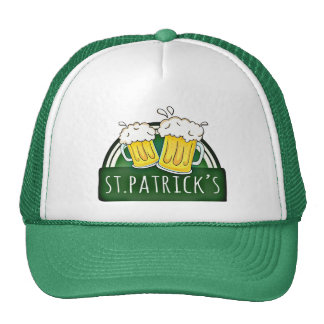 Green Happy St Patricks Day Shield With Two Beers Trucker Hat
