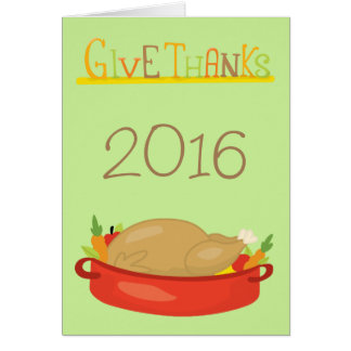 Green Happy Thanksgiving Give Thanks Card