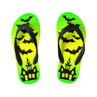 Green Haunted House and Bats Kid's Flip Flops
