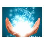 Green healing hands chakra Reiki energy zen yoga Post Card