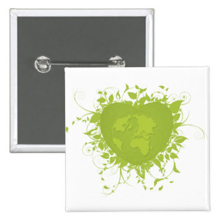 Green Heart and Earth 2 Inch Square Button