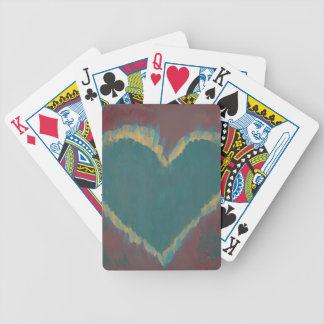 Green Heart Bicycle Playing Cards