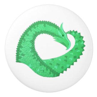 Green heart dragon on white ceramic knob