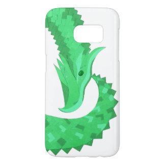 Green heart dragon on white samsung galaxy s7 case