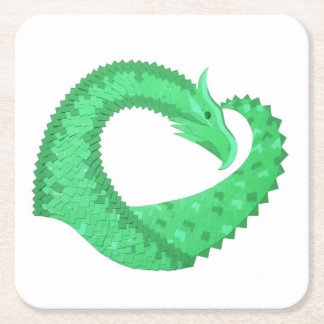 Green heart dragon on white square paper coaster