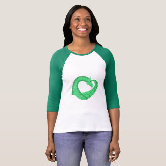 Green heart dragon on white T-Shirt
