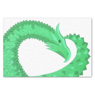 Green heart dragon on white tissue paper