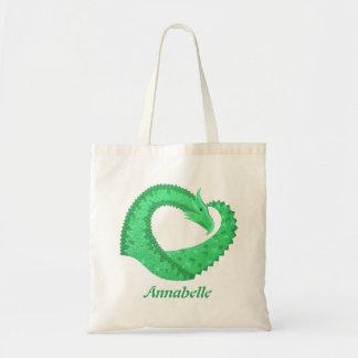 Green heart dragon on white tote bag