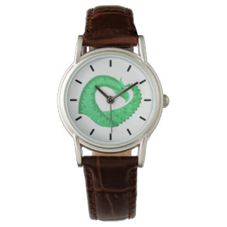 Green heart dragon on white watch