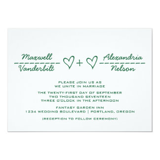 Green Heart Equation Wedding Invite