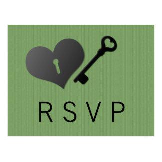 Green Heart Lock and Key Response Card Postcard