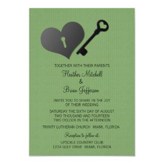 Green Heart Lock and Key Wedding Invite