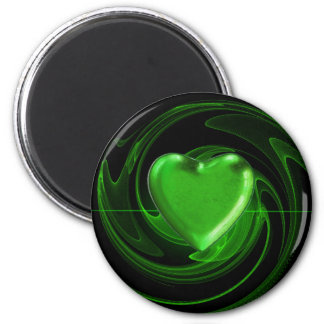 Green heart on spiral magnet