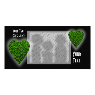Green Heart. Patterned Heart Design. Customized Photo Card